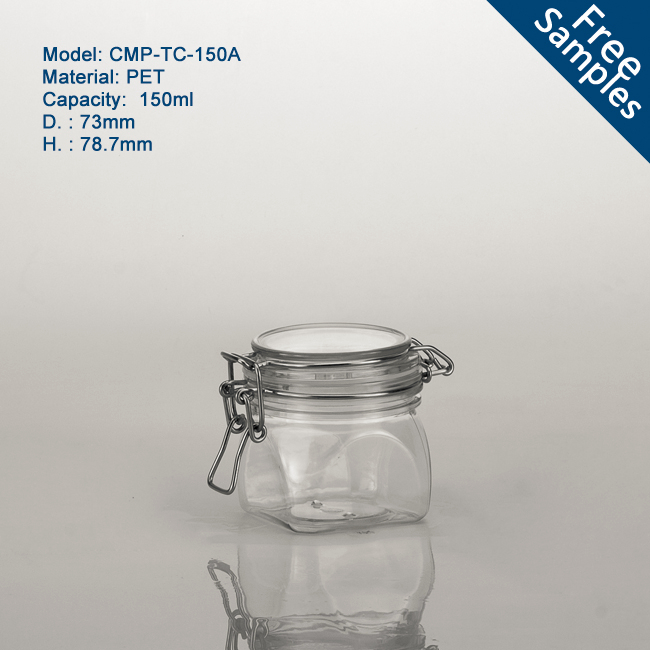 150g thick and heavy popular plastic jars for spices, useful airtight 150ml clear square pet plastic kilner jar