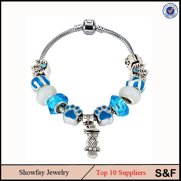 Heavy Owl Pendant Blue Bracelet Fashion Vintage Bead Bracelets With Rhinestone