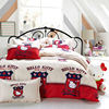 Polyester 85GSM Reactive printing Bedding set bed sheet duvet cover white CAT