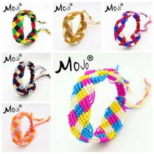 cheap rainbow color handmade custom mexican friendship rainbow hollow bridge woven bracelet