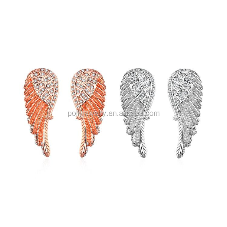 High Quality AAA Zircon Stone Paved Angle Wing Clip On Earrings