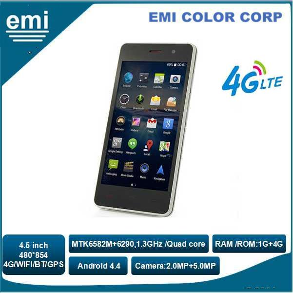 4.5 inch 480*854 IPS Capacitance Touch LCD, MTK6290 Quad-core 1.3GHz Android 4G FDD LTE Smart Phone