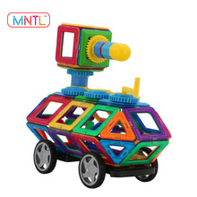 MNTL 44-Pieces Blocks Building Toy Magnet Building Tiles Clear Magnetic 3d Blocks Educational Toy