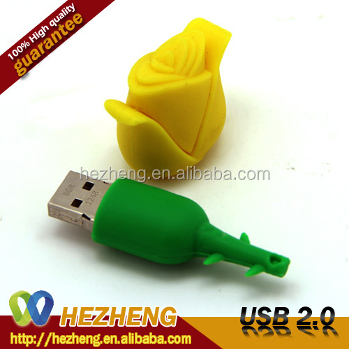 Cheapest 4GB Flower Rose Shape USB Flash Driver Pen Drive Key Download Customized Logo