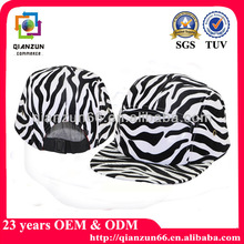 Wholesale zebra custom 5 panel cap hat