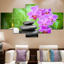 5 Piece Canvas Art Posters And Prints Vintage Picture Frames Paintings By Number Canvas Painting Calligraphy Candle Lotus Flower