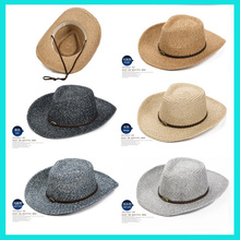 Promotional Customized Logo wholesale Bulk Panama Straw Hats Summer Beach Cheap Mexican Straw Cowboy Hat For Men