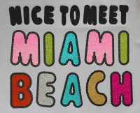 custom Miami Beach motif,holofoil and new glitter motif for garment