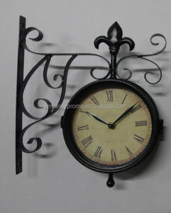 Wrought Iron Vintage-inspired Rotatable Double Sided Wall Clock - Double Faced Train Station Style Round Chandelier Wall Hanging