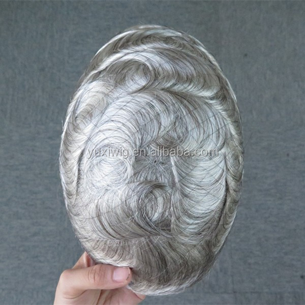 Stock toupee, swiss lace mens toupee 1b# mix 80% Grey hair color. fast shipping.