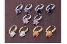 A Level Quality Earrings Ornament Heart Shape Zircon Piercing Thin Stones Two Gold Silver Plated Ear Clip Earrings For Women