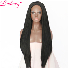 Lvcheryl Black Color Yaki Straight Natural Long Full Hair Heat Resistant Fiber Hair Wigs Synthetic Lace Front Wig For Women