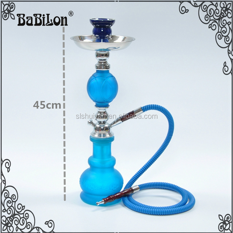 2016 newlest glass middle hookah with lovely blue color