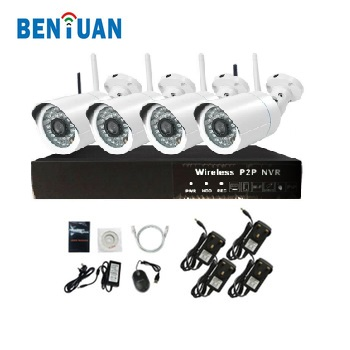 1.3 Megapixel ONVIF 4CH NVR surveillance system P2P wireless cctv camera kit