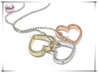 White gold plating tri tone and side crystal stud heart necklace