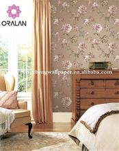 modern high quality non woven backed pvc flower wallpaper