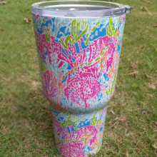 Wholesale Lilly Pulitzer Inspired Cup Powder Coated Stainless Steel Tumbler