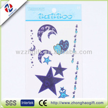 stars and moon temporary colourful flower tattoo sticker body art