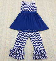 New design cute girls clothing sets wholesale girl boutique outfits girls puffy clothes blue stripe sleeveless children suit