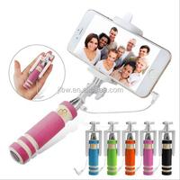 New Cable Take Pole Wire bluetooth Selfie Stick W/ Remote Shutter Function For iphone Mobile Phone