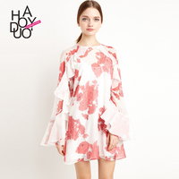 Haoduoyi Womens Cute Long Flare sleeve Dresses Chiffon Patchwork Dresses Floral Print Mini Swing Dresses for wholesale