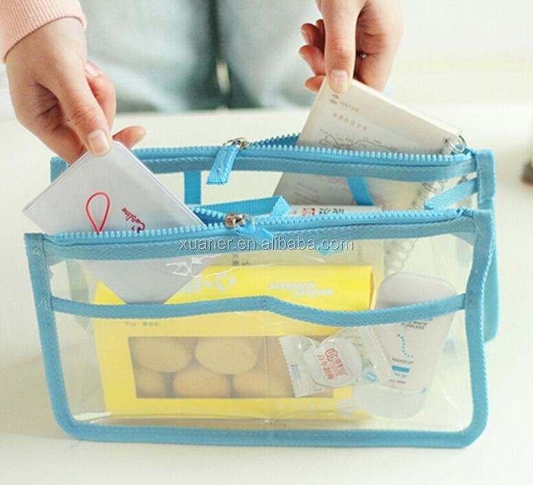 2017 promotional colorful pvc transparent clear cosmetic bag for women travel