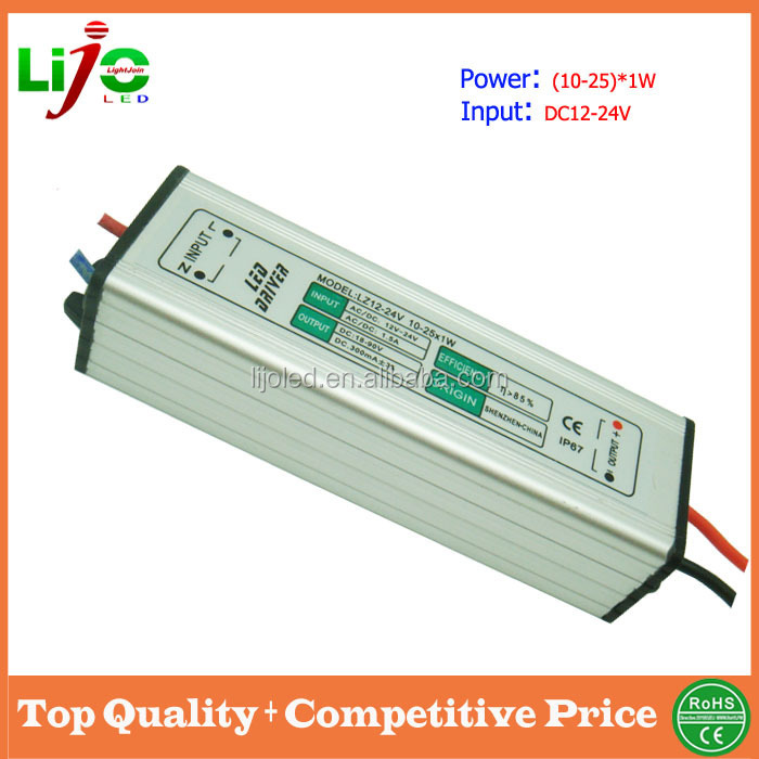 dc 12-24v Waterproof IP67 external (10-25)x1W 300ma constant current led driver for outdoor low voltage led light