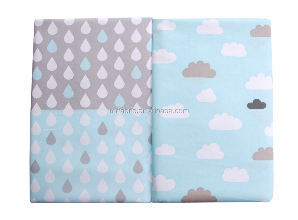 Cloud raindrops cotton fabric 100% cotton cartoon printed indonesia cotton printed fabric