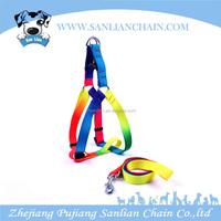 Fashionable dog harness with high quality rainbow color nylon dog harness