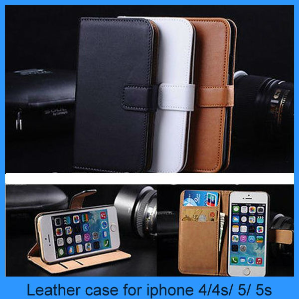 For iphone 5s case Factory Luxury Vintage Genuine Real Leather Flip Case Wallet Cover for iphone 5 5s (PT-I5L256)