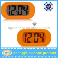 2014 hot sell Wholesale Silicone Desk clock /Silicone digital table alarm clock