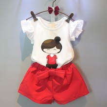 C71400A Baby summer suit sets Top t shirts+kids fluffy skirts children clothing set