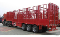 Tri-axle box type flat bed trailer with side cover, fence semi trailer