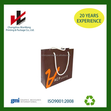 Plain Dark Blue Color Printing Hang Kraft Paper Bag with Paper Rope Handlers