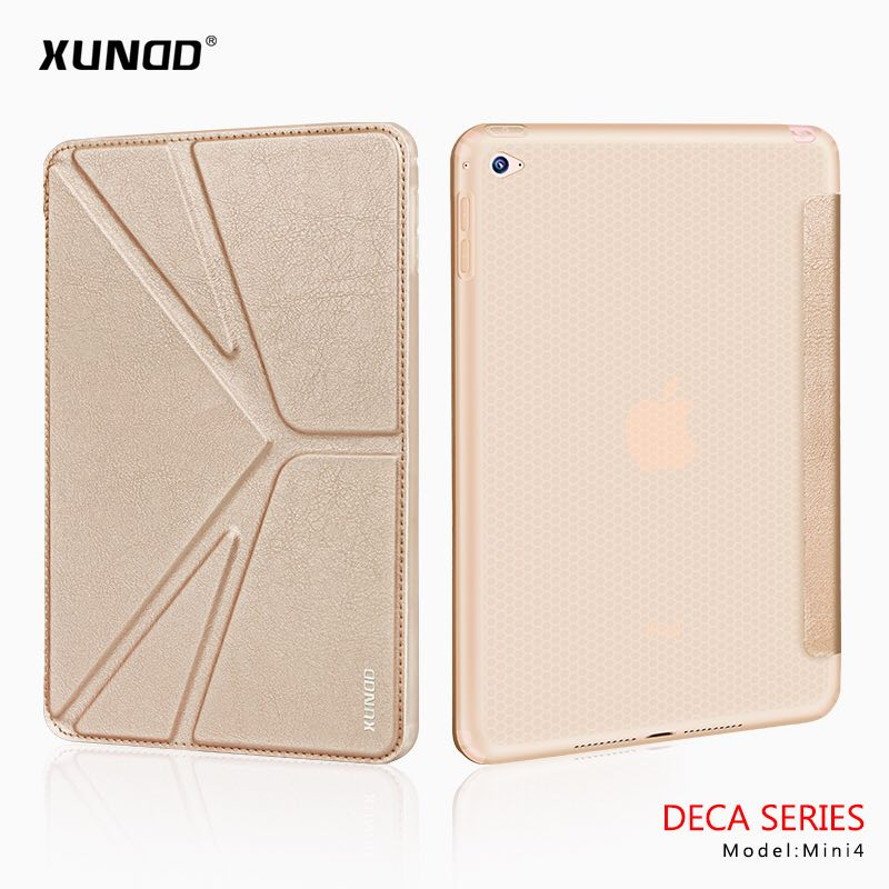 [XUNDD]Luxury Magnetic Leather Three Foldings Smart Flip Case Cover For Apple iPad Mini 4 7.9 Inch