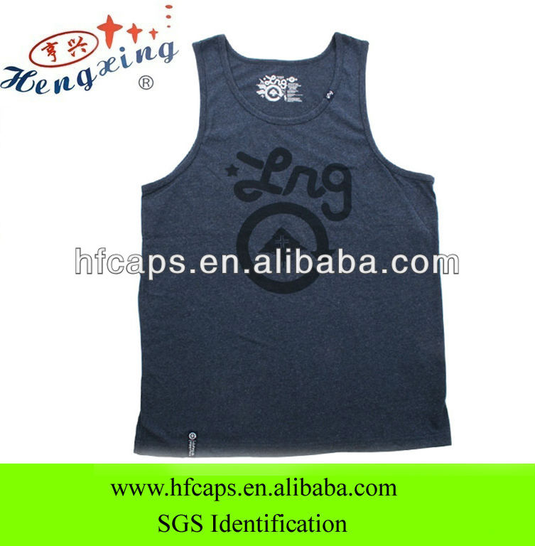 Organic cotton printed cheap custom sport mens tank tops