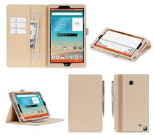 "Smart PU leather case for LG G pad 8.0"" V495 with card slot and hand strap"
