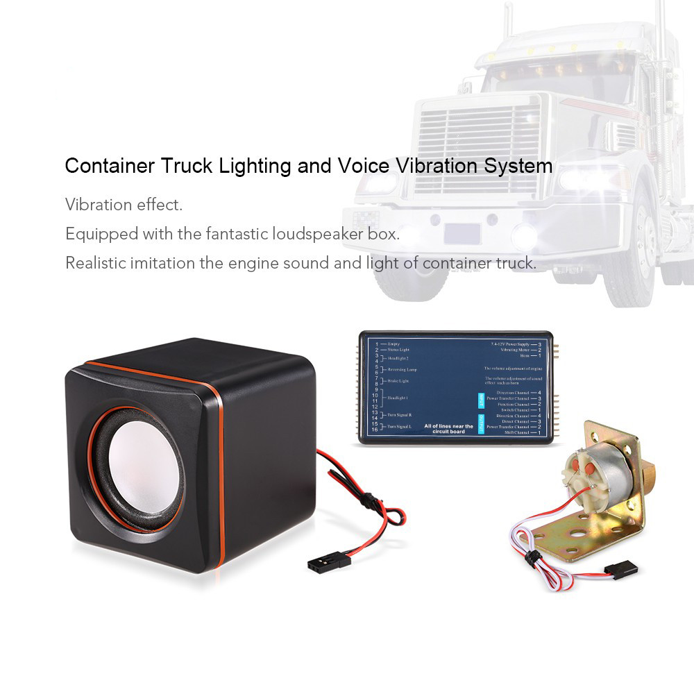 911127-Container Truck Lighting and Voice Vibration System for Tamiya RC4WD Tractor RC Truck