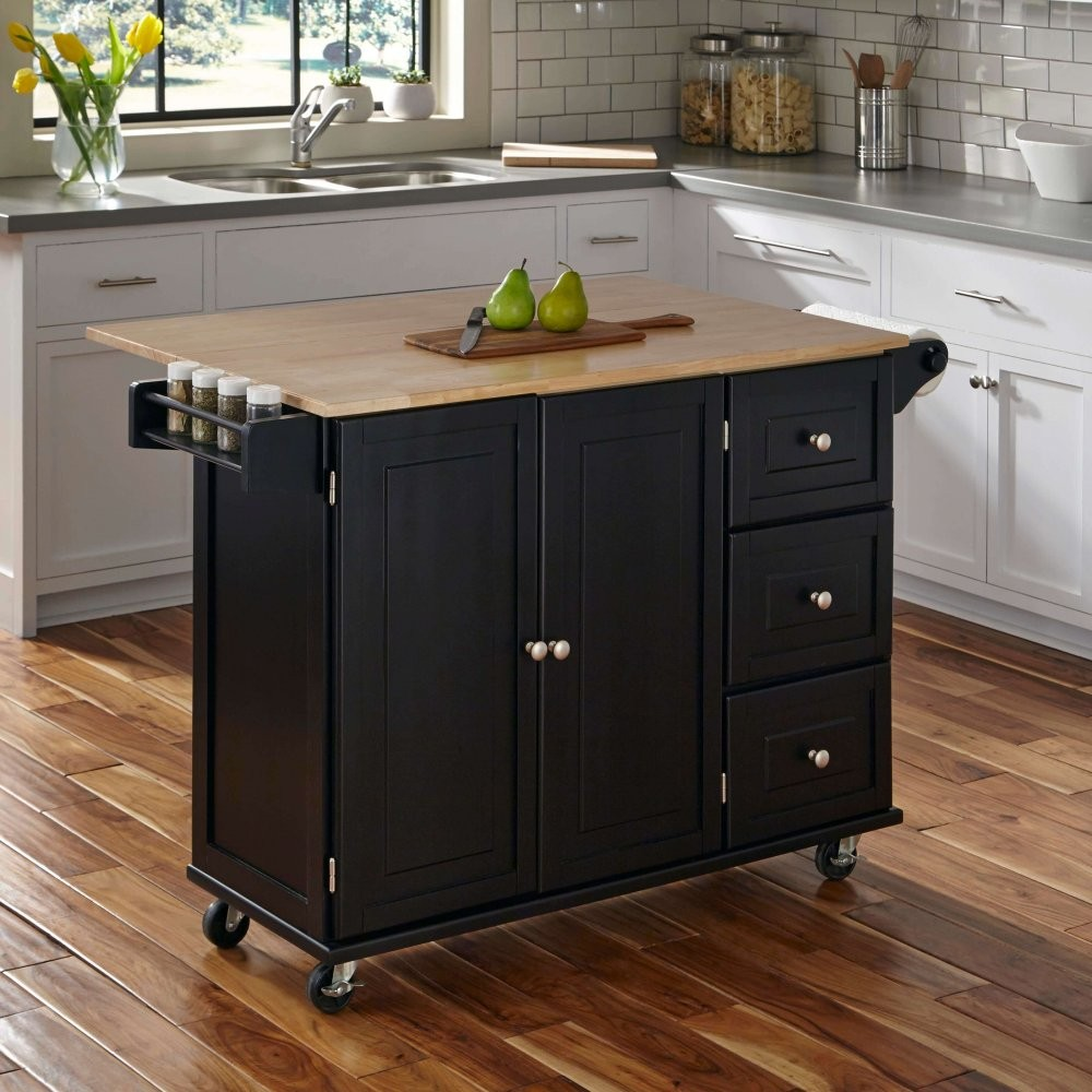 Competitive price wood kitchen cabinet trolley with rubber wood top