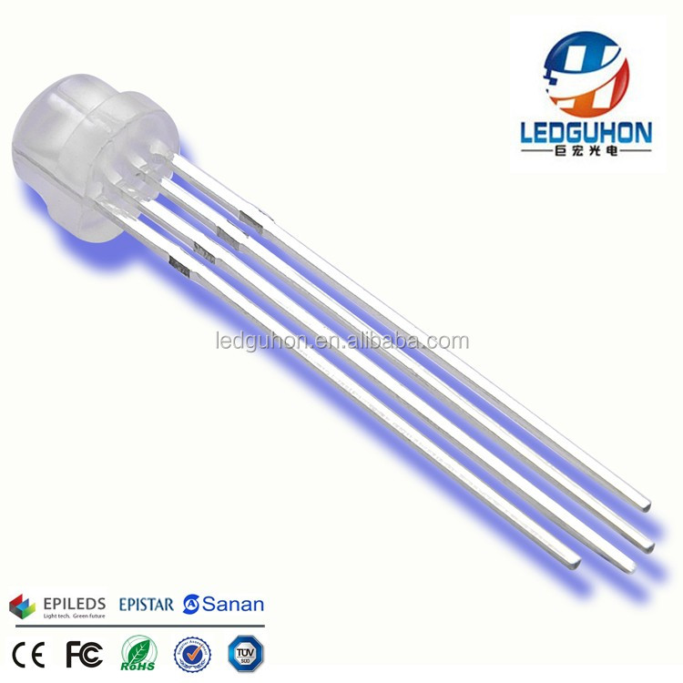 4pins 5mm straw hat Common Anode rgb led through hole rgb led