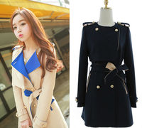 2014 Korean style new fashion girls slim woolen coat overcoat