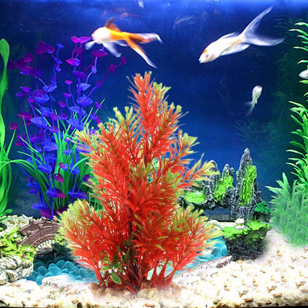 Red Grass Aquatic Plant Plastic Transparent Stone Base Ornament for ...
