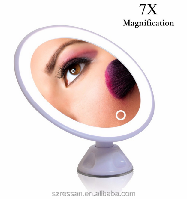 Lady led makeup Mirror 7x magnifcation suction up Cosmetic Folding Portable Compact mirror