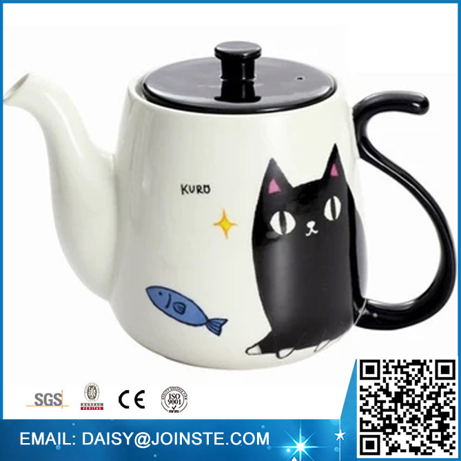 Cat shape milk jug,ceramic cat water pot,antique custom juice kettle