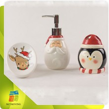Christmas decoration ceramic bathroom accessory sets