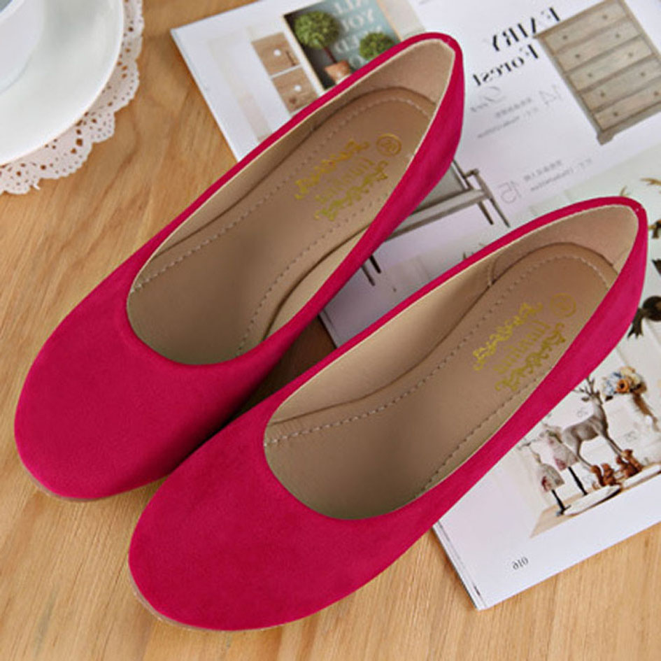 All Season Flock Women Shoes Slip On Woman Ballet Flats Round Toe Velvet Lady Footwear