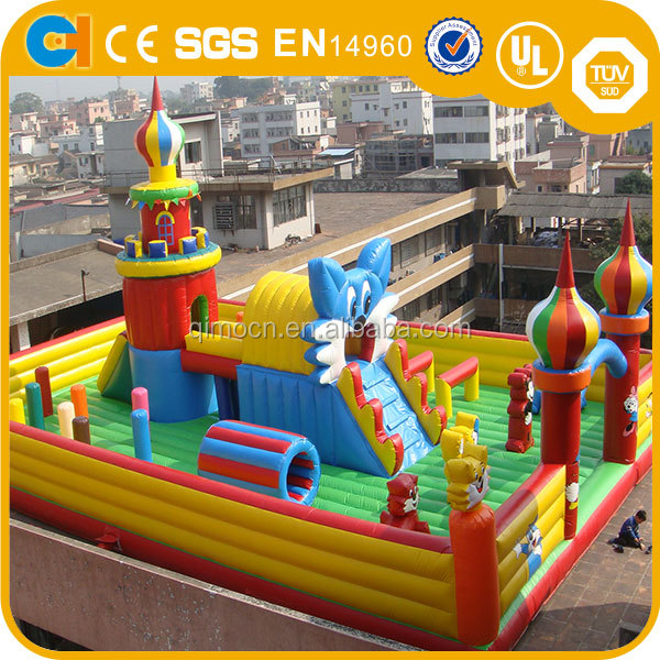 Hot giant outdoor Inflatable playground , Inflatable amusement park with climbing