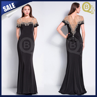 New Luexury 2016 Prom Dress Short-sleeve Black Beading Crystal Sweep Custom Evening Dress
