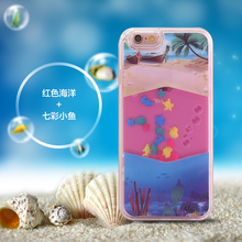 [SANLEAD]Aquarium 3D Moving Sea Animals liquid plastic cell phone case for iphone 6