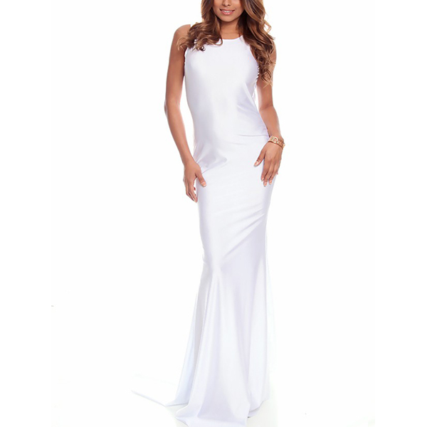 Sexy satin sleeveless maxi fishtail evening gown women sexy long white party evening dress